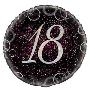 18. Geburtstag Folien Ballon Schwarz Silber Pink