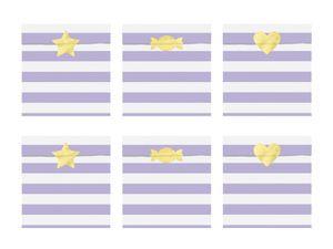 6 Papier Tütchen Lila mit weißen Streifen