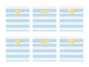6 Papier Tütchen Hellblau mit weißen Streifen – Bild 1