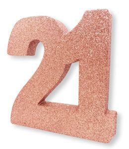 Deko Glitzer Zahl 21. Geburtstag RoseGold