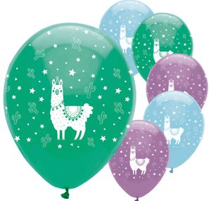 6 Luftballons bunte Lama Party