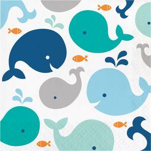 16 Servietten Happy Baby Wal Party Blau  – Bild 1