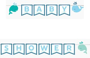 Wimpel Banner am Satinband Happy Baby Wal Party Blau – Bild 1