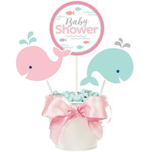 3 Kuchen oder Deko Stecker Happy Baby Wal Party Pink – Bild 1