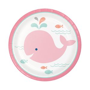 8 kleine Papp Teller Happy Baby Wal Party Pink – Bild 1
