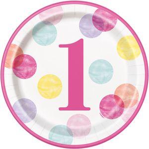 8 Papp Teller 1. Geburtstag Rosa Punkte – Bild 1