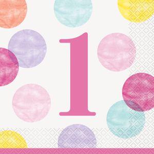 16 Servietten 1. Geburtstag Rosa Punkte – Bild 1