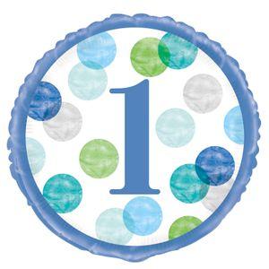 Folien Ballon 1. Geburtstag Blaue Punkte – Bild 1