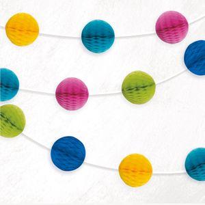 Girlande mit kleinen Papier Dekobällen in Gelb, Pink, Grün, Blau und Türkis