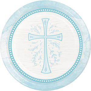 8 Papp Teller Kreuz in Hellblau