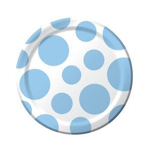 8 kleine Papp Teller Punkte Pastell Blau