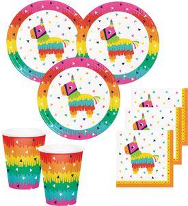48 Teile buntes Fiesta Fun Party Deko Basis Set für 16 Personen – Bild 1