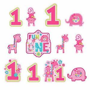 12 Pappschilder Erster Geburtstag Geburtstags Spaß Pink