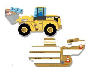 6 Baustellen Bagger Einladungskarten