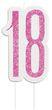 Kuchen Kerze Pink Dots Glitzer zum 18. Geburtstag