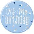 Anstecker oder Button Blue Dots Glitzer - it's my Birthday