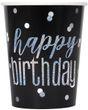 8 Papp Becher Black Dots Glitzer Happy Birthday