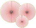 3 Papier Dekofächer Pastell Rosa mit Goldrand 23 - 40 cm Durchmesser