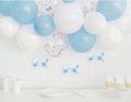DIY Ballongirlanden Set Blaue und Weiße Ballons mit silbernem Konfetti