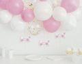 DIY Ballongirlanden Set Rosa und Weiße Ballons mit goldenem Konfetti