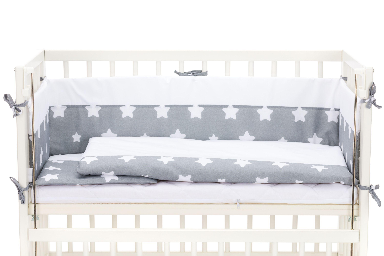 Fillikid Beistellbett Cocon 45x95 cm weiß mit Bettwäsche Set Exclusiv