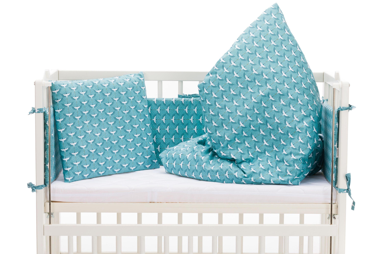 Fillikid Beistellbett Cocon 45x95 cm weiß mit Bettwäsche Set TOP