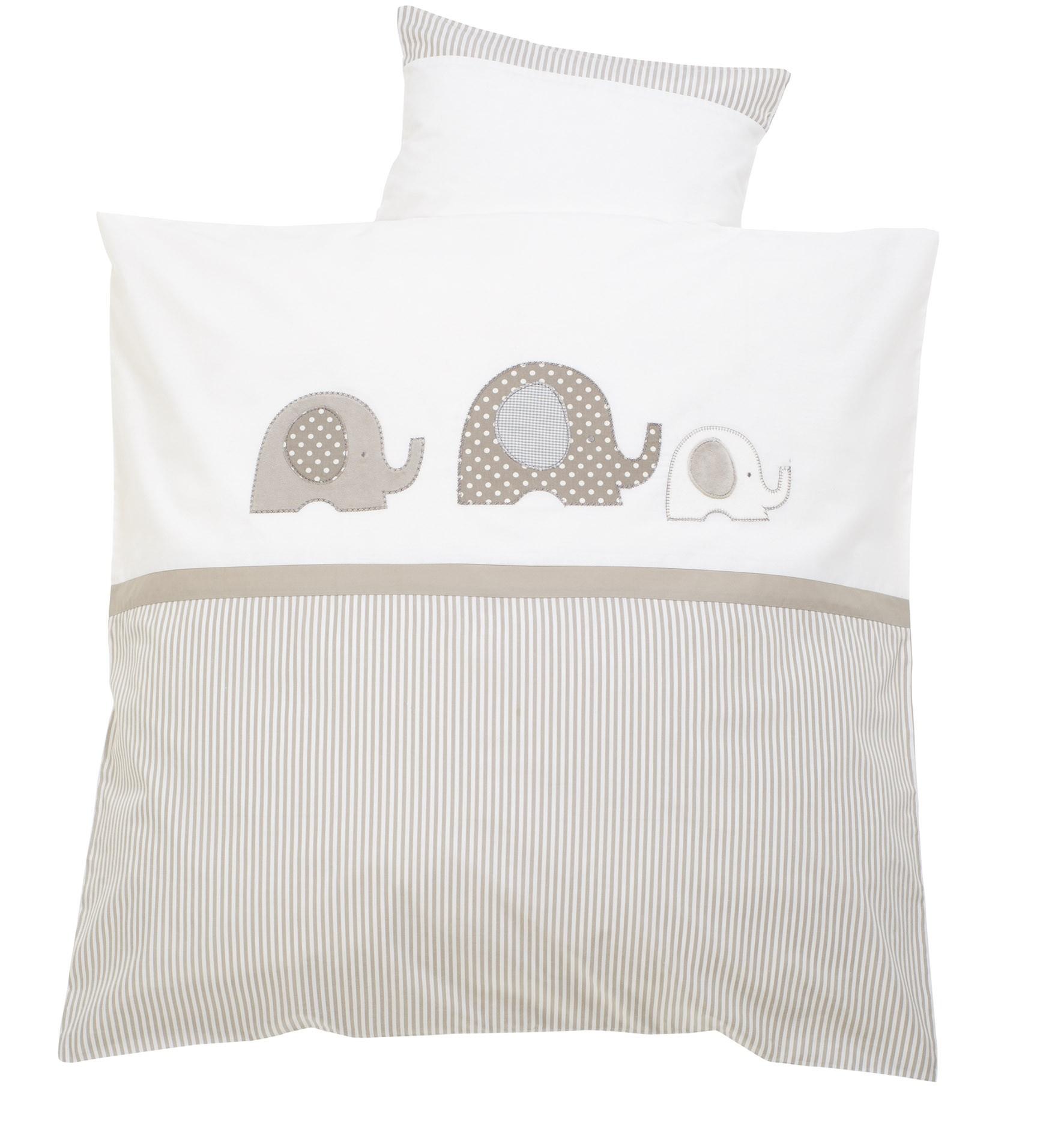 alvi bettw sche 100x135 applikation elefant dessin 323 6 beige g nstig und sicher kaufen. Black Bedroom Furniture Sets. Home Design Ideas