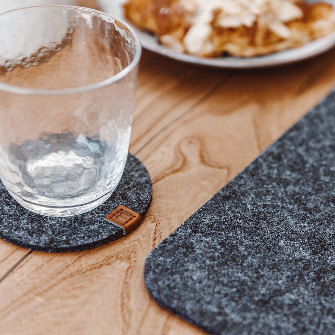 Untersetzer aus Filz für Glässer und Tassen