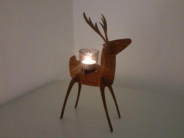 """Edelrost-Rentier """"Rudi"""" als Teelichthalter  – Bild 1"""