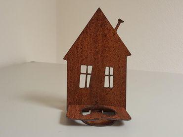 Edelrost-Haus Silhouette Nr.10 als Teelichthalter – Bild 1