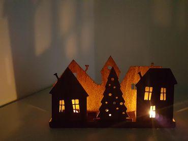 Edelrost-Dorf Silhouette 4er Set als Teelichthalterung – Bild 2