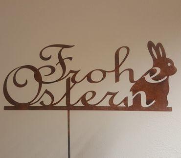"""Edelrost- """"Frohe Ostern"""" Schriftzug mit Osterhase"""