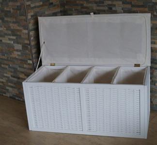 Wäschesortierer Wäschetruhe Viviane Wäschekorb XL 4-fach 4 Fächer Weiß – Bild 3