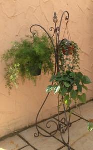 Blumenampel Blumenständer Hängeampel Pflanzkorb Alicia Rost – Bild 1