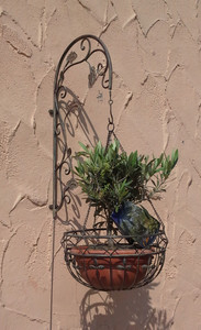 Blumenampel mit Wandhalter Hängeampel Pflanzkorb Wandampel Paris braun – Bild 4