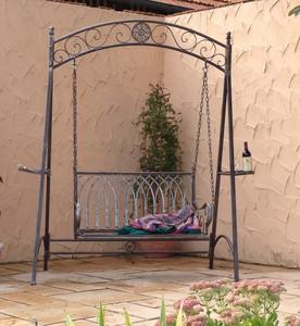 Landhaus Eisen Schmiedeeisen Hollywood Garten Schaukel Romantico Rost – Bild 1