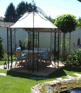 Pavillion Metall Pavillon Pavilion Laube Schmiedeeisen Romanco Weiss Rost Antik – Bild 1
