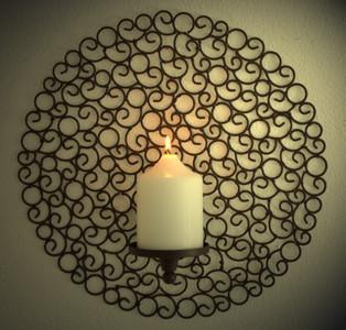 Wand Kerzenhalter Wandkerzenhalter Eisen Design Tirano braun 2-er Set – Bild 1