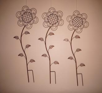 Rankgitter Rankstab Rankhilfe Beetstecker Flower Rost Braun 3-er Set