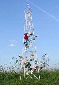 Rankstab Rankhilfe Rank Pfosten Obelisk Pflanzenstütze Cornwall weiss 2-er Set – Bild 1