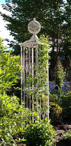 Rankstab Rankgitter Rankhilfe Spalier Rosen Metall Obelisk KENT XL weiß 165 – Bild 1