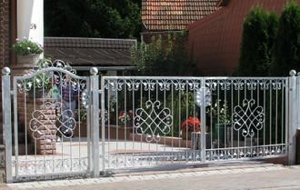 Eingangsanlage Gartentor Hoftor Tor Metall Schmiedeeisen Monaco-GFT500/120 Verzinkt PREMIUM  – Bild 1