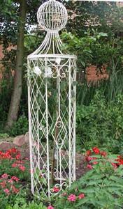 Rankstab Rankhilfe Spalier Rankgitter Metall Rosen  Obelisk Wells XL 165cm Weiß