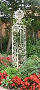 Rankstab Rankhilfe Spalier Rankgitter Metall Rosen  Obelisk Wells XL 165cm Weiß – Bild 5