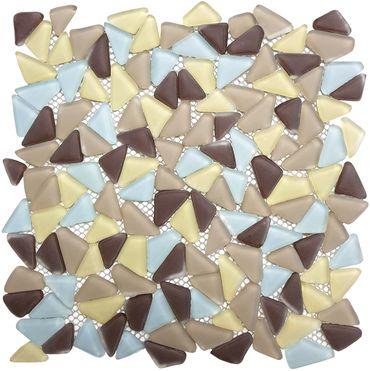 Mosaikfliese Steinoptik Glas Grün Braun Blau 30x30 cm