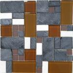 Mosaik Naturstein Glas Braun Grau  30x30 cm 001