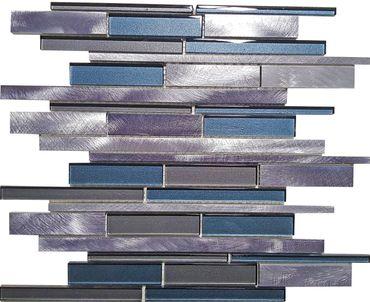 Mosaikfliese Aluminium Glas Grau Blau 30x30 cm