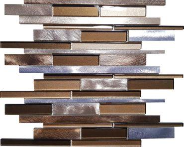 Mosaikfliese Aluminium Glas Grau Braun 30x30 cm