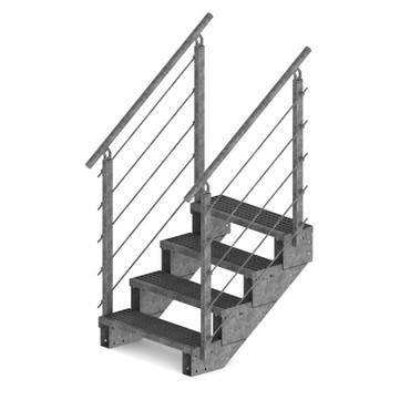 Treppe mit Gitterroststufen mit beidseitigem Geländer – Bild 1