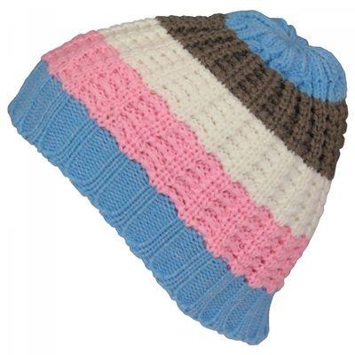 Mütze für Damen Skimütze Wintermütze Beanie mit Streifen – Bild 2